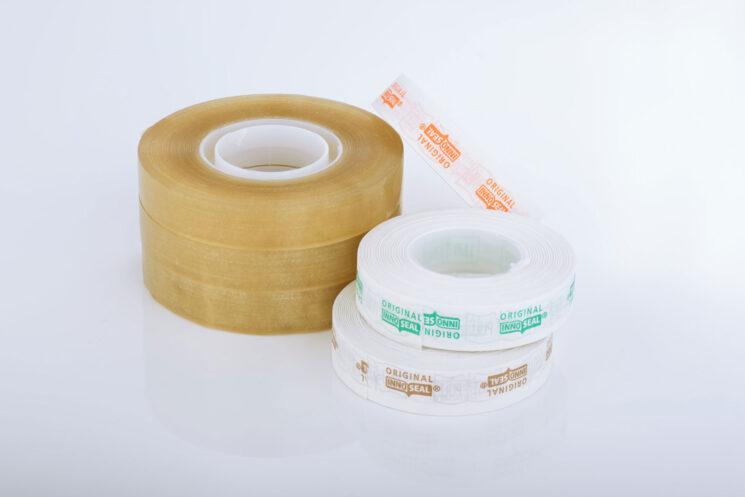 Beutelverschluss-Klebeband für die Inno Seal Maschine, weiß mit Druck und natur