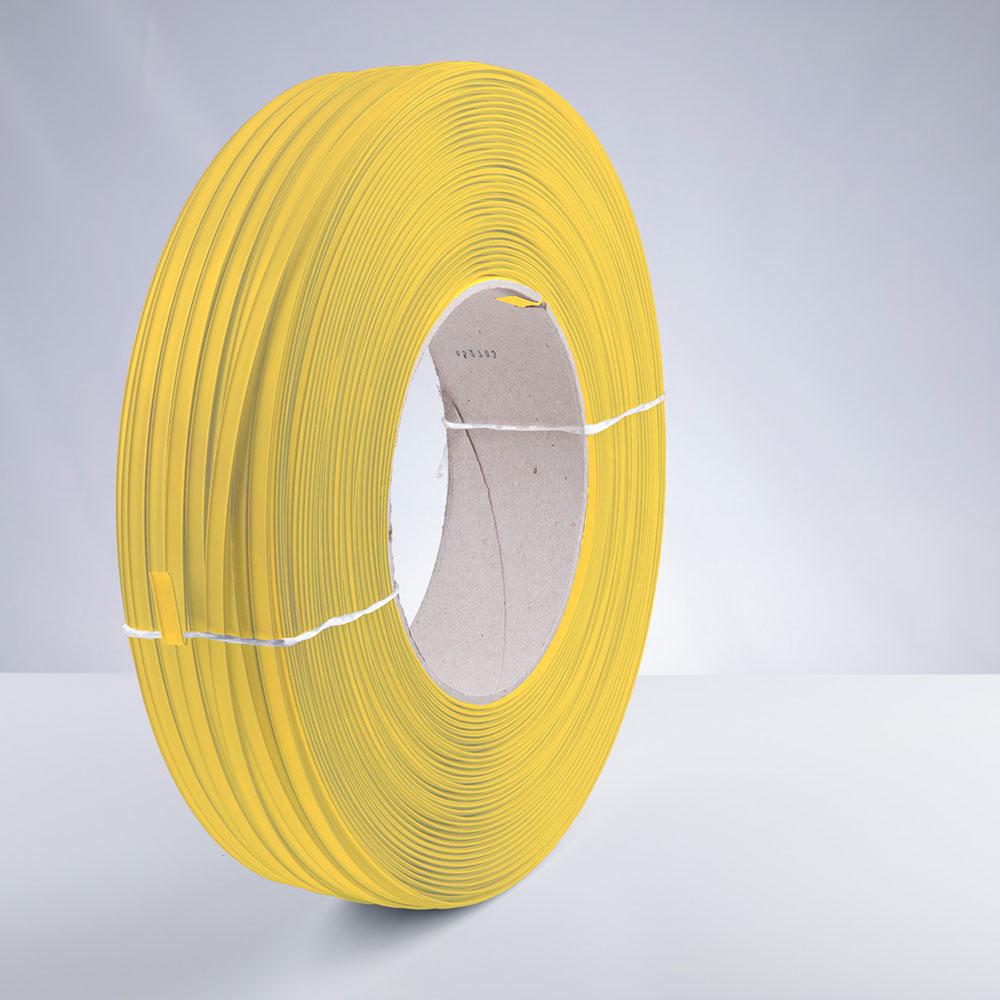 Kunststoff-Clipband Rolle, gelb, stehend, von rechts