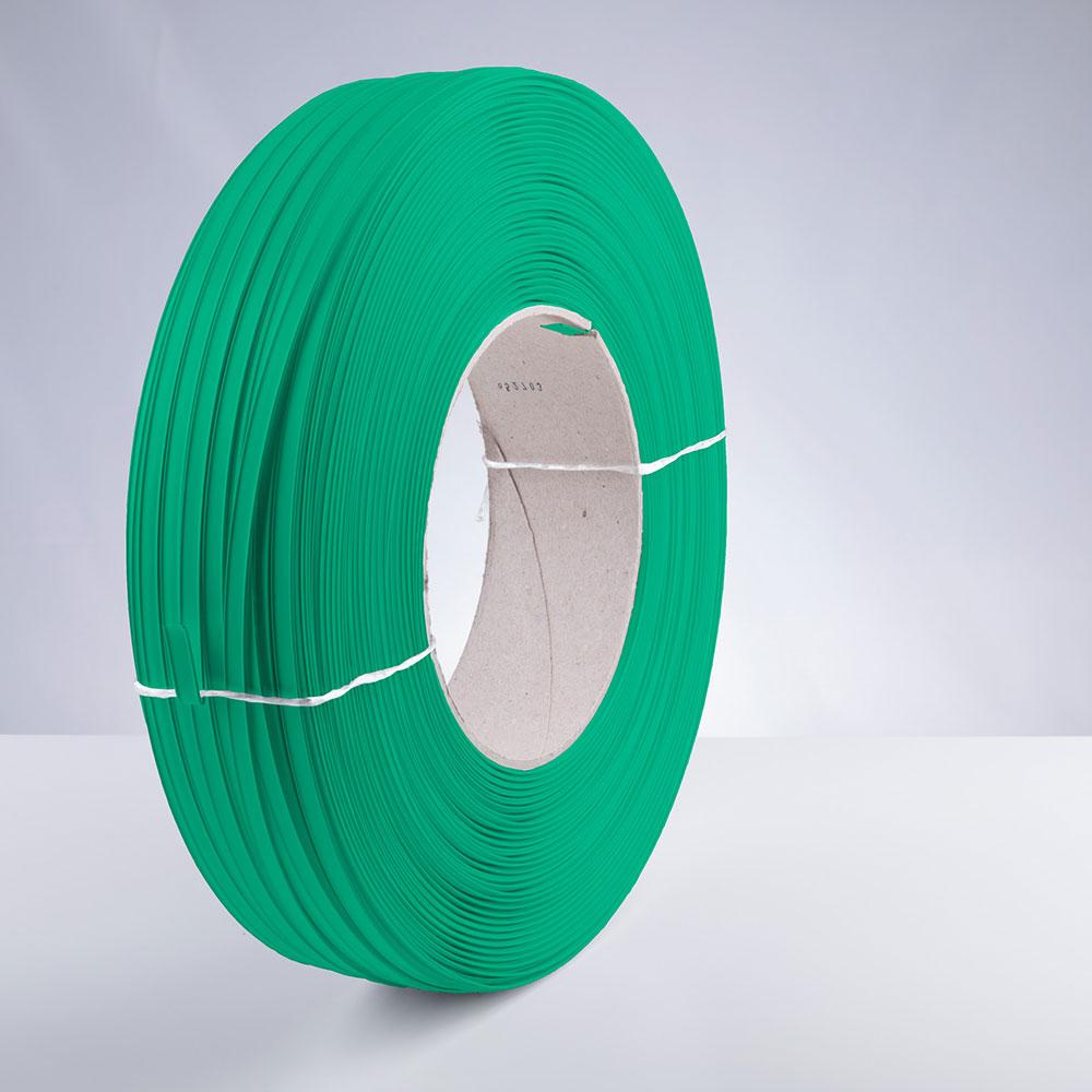 Kunststoff-Clipband Rolle, grün, stehend, von rechts